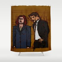 mulder Shower Curtains featuring there's something out there, mulder by Melvin Pena