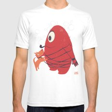 Cyclopes Monster Blob & Orange Dog SMALL Mens Fitted Tee White