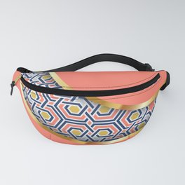 Patterned crescent on living coral pink Fanny Pack