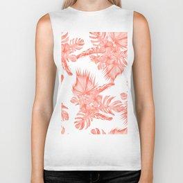 Tropical Palm Leaves Hibiscus Flowers Deep Coral Biker Tank