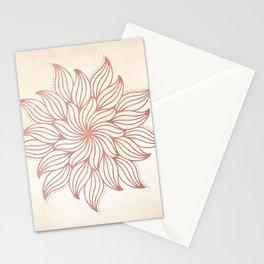 Flowery Rose Gold Mandala on Cream Stationery Cards