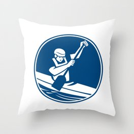 Canoe Slalom Circle Icon Throw Pillow