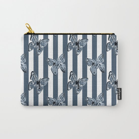 Blue butterflies on a striped background . Carry-All Pouch