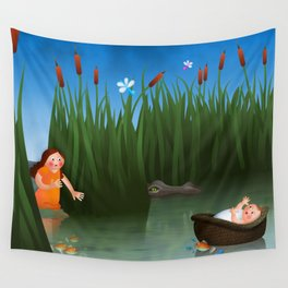 Baby Moses on the River Nile Wall Tapestry