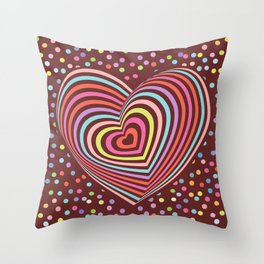 multi-colored rainbow heart on dark brown background. 3D Throw Pillow