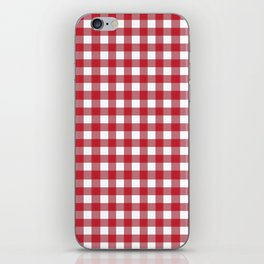 Red and White Gingham Pattern iPhone Skin