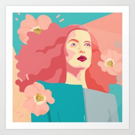 Spring model with flower motives and bold color with marble effect background Art Print