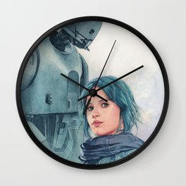 Jyn Erso and K-2so Wall Clock