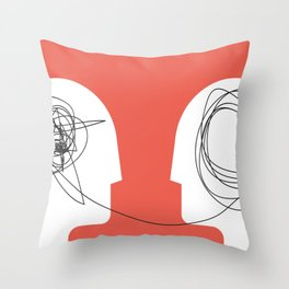 Two humans head silhouette psycho therapy concept. Throw Pillow
