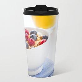 Healthy breakfast with muesli, fresh fruit, orange juice and coffee Travel Mug
