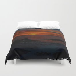 Lake Michigan Sunrise l'Orange (Chicago Sunrise/Sunset Collection) Duvet Cover