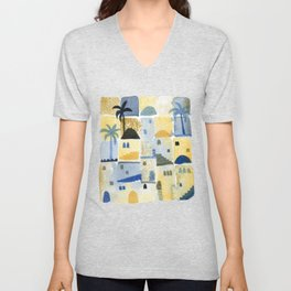 Morning Middle Eastern Town Watercolor Unisex V-Neck
