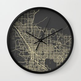 Tucson Map yellow Wall Clock