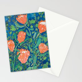 Coral Proteas on Blue Pattern Painting Stationery Cards