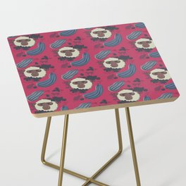 Macaques & Squash (magenta) Side Table
