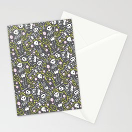 Skeletons in Spring - abbey grey - white  Stationery Cards