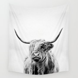 portrait of a highland cow - (vertical) Wall Tapestry