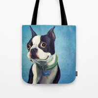 boston terrier Tote Bags featuring Boston Terrier by Jackie Sullivan