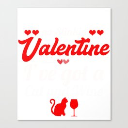 Valentine Shirt For Cat And Wine Lover. Canvas Print