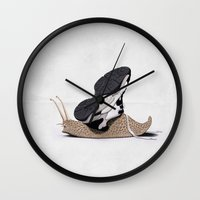 sneaker Wall Clocks featuring The Sneaker (Wordless) by rob art | illustration