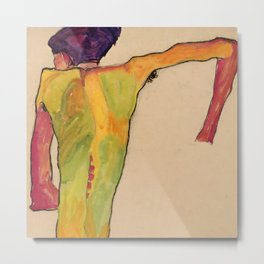"""Egon Schiele """"Male Nude, Propping Himself Up"""" Metal Print"""