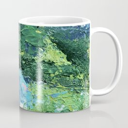 Gunnison: a vibrant acrylic mountain landscape in greens, blues, and a splash of pink Coffee Mug