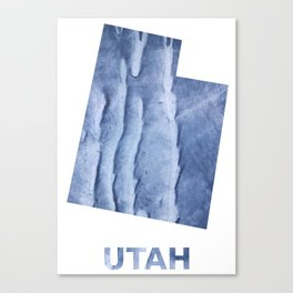 Utah map outline Blue watercolor Canvas Print