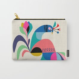 Mid Century Modern Peacock Carry-All Pouch