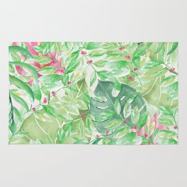 Hand painted watercolor green pink tropical leaves floral Rug