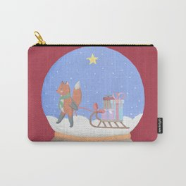 Fox Sled Gifts in Snow Globe Carry-All Pouch