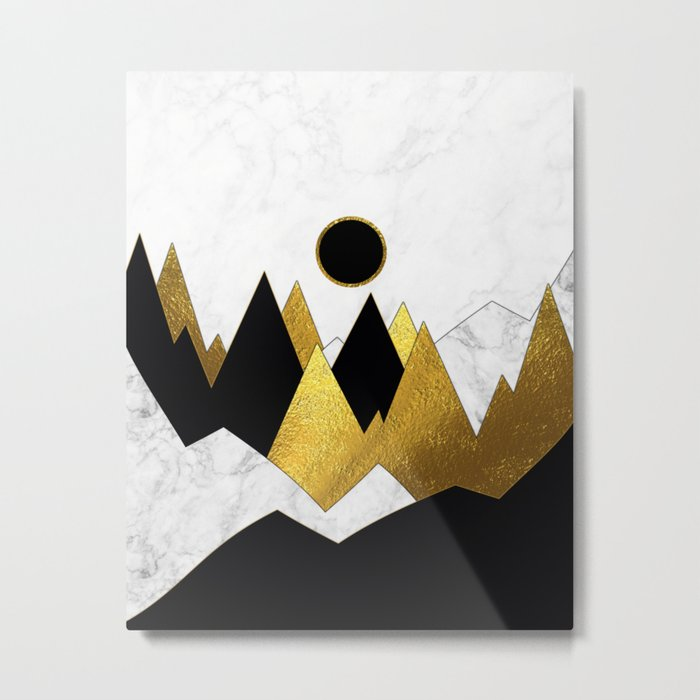 Landscape Marble, Black & Gold Metal Print