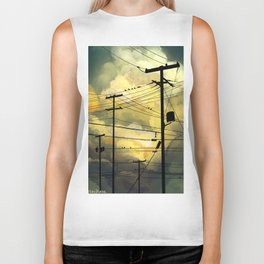 Telephone wires with green clouds Biker Tank