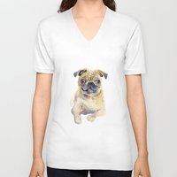 pug V-neck T-shirts featuring Pug by coconuttowers
