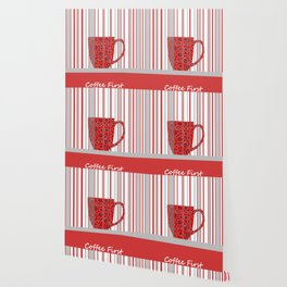 Coffee First With Stripes Wallpaper
