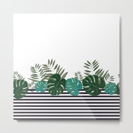 Hand drawn artistic monstera and palm leaves with stripes Metal Print