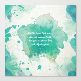 2 Timothy 1:7, Inspiring Bible Verse Canvas Print