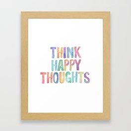 Think Happy Thoughts, Nursery Wall Art Kids Room, Nursery Printables, Baby Girl Nursery Wall Art Framed Art Print