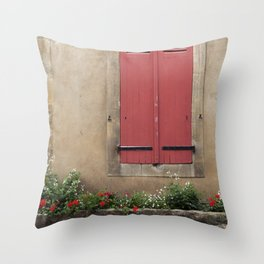 Red Shutters - travel photography Throw Pillow
