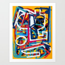 Yellow Life Graffiti Abstract Street Art by Emmanuel Signorino© Art Print