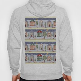 Kids patchwork seamless pattern with houses and trees Hoody