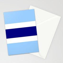 Horizontal stripes 4 Dark blue and light blue Stationery Cards