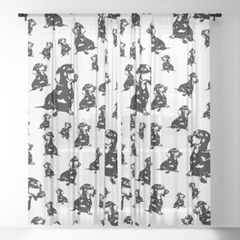 DOXIE DOG WRAPPED FOR CHRISTMAS Sheer Curtain