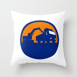 Mechanical Digger Loading Dump Truck Circle Retro Throw Pillow