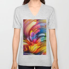 colorful wavy background colorful rays abstract waves material design abstract art creative colorfu Unisex V-Neck
