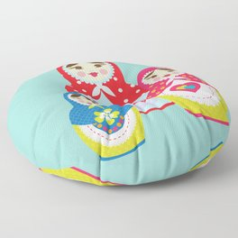 Turquoise babushka , matryoshka , russian doll , nursery decor , children gift, birthday gift Floor Pillow