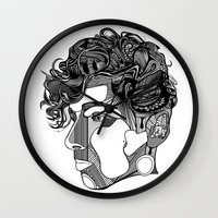 danny ivan Wall Clocks featuring Danny by Alastair Vanes