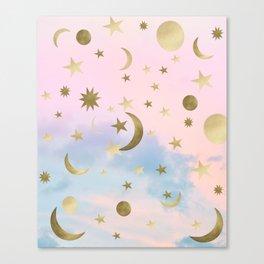 Pastel Starry Sky Moon Dream #1 #decor #art #society6 Canvas Print