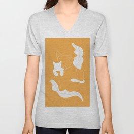 Girl, White Cat, Plants / Line Art in Sunny Yellow Unisex V-Neck
