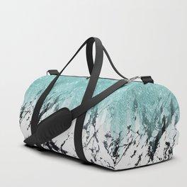 Modern Sparkly Aqua White Marble Glitter Gradient Duffle Bag