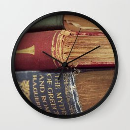 Pile of Antique Books Wall Clock